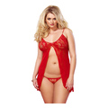 2pcs. Rose Babydoll with String (plus size)