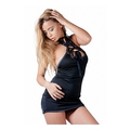 Mini Dress With Open Topping And G-String - Black