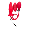 Inflatable Vibrating Silicone Plug - Red
