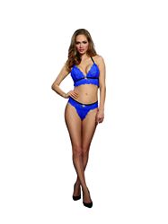 "Dreamgirl Lingerie ""BH & Slip"" (royal blue) One Size"